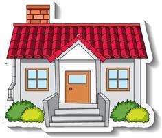 plantilla de etiqueta con una sola casa aislada vector