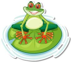 Cute exotic frog cartoon sticker on white background vector