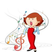 Doodle character of a singer woman singing with musical melody symbols vector