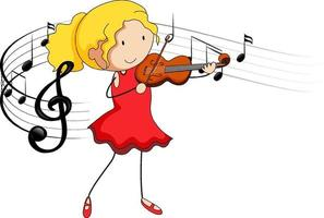 Cartoon doodle a girl playing violin with melody symbols vector