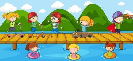 Scene with doodle kids cartoon character on the bridge crossing river vector