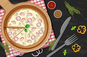 Top view of a whole pizza with onion and mushroom topping on the table vector