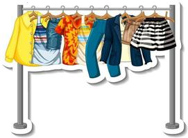 Sticker of Clothes racks with many clothes on hangers vector
