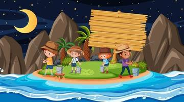 Kids on vacation at the beach night scene with an empty wooden banner vector