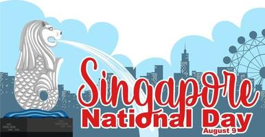 Singapore National Day font banner with Merlion landmark of Singapore vector