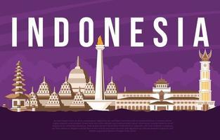 Visit Indonesia Beautiful Landmark Concept vector