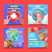 World Humanitarian Day Cards vector