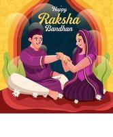 Couple Celebrating Raksha Bandhan Concept vector