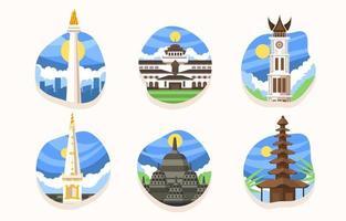 Wonderful Indonesia Landmark Icon vector