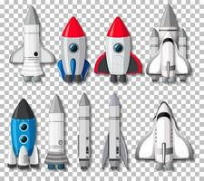 Set of different rockets and spaceships vector