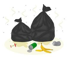 Garbage bags with waste around. Vector flat illustration