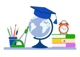 School supplies design. Books, chancellaria globe Vector illustration
