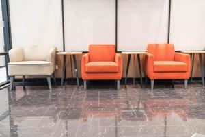 Empty orange chair interior decoration in living room photo