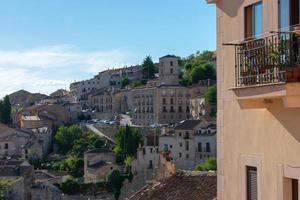 view of the buildings and streets of a medieval town in Spain photo