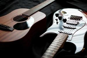 Electric guitar and acoustic guitar, macro abstract photo