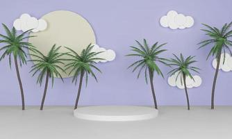 3d rendering summer background with circle podium and palm trees photo