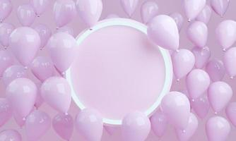 3d rendering pink balloons background with empty circle photo