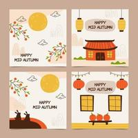 Mid Autumn Social Media Pack vector