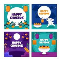 Happy Chuseok Card Pack vector