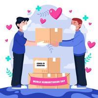 Man Gives Donation during Humanitarian Day vector