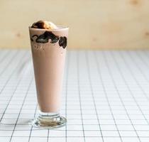 Chocolate frappe with vanilla ice cream on top photo