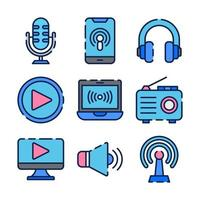 Set of Icons for Podcast vector