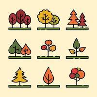 árboles en otoño vector