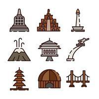 Indonesia Famous Landmarks vector