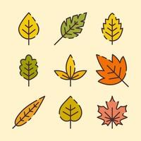 Autumn Leaves Icons Set vector