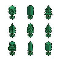 árboles verdes isométricos vector
