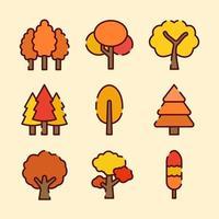 arboles amarillos en otoño vector
