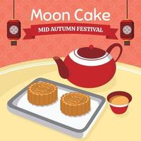 Mid Autumn Festival Moon Cake Tea vector