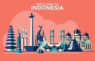 Welcome to Indonesia Landmark Collection vector