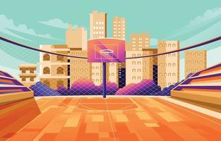 Outdoor Stadium Basketball Background vector