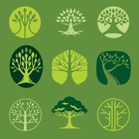 conjunto de logotipo de árbol moderno vector