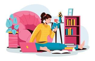 Young Girl Online Studying at Home vector