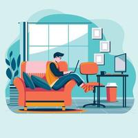 Young Businessman Enjoy Work From Home vector
