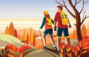 pareja de senderismo en la montaña en la temporada de otoño vector