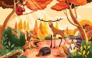 concepto de temporada de otoño con flora y fauna. vector