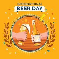 International Beer Day with Beer Toasting vector