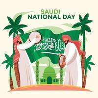 Saudi Arabian Folklore Performance at Saudi National Day vector