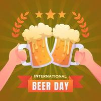 feliz dia internacional de la cerveza vector