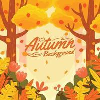paisaje de bosque de otoño vector