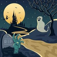 Halloween Night Landscape vector