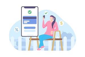vector illustration of online payment progress in ecommerce apps