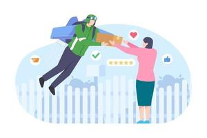 Vector illustration of courier deliver package to customer by rocket