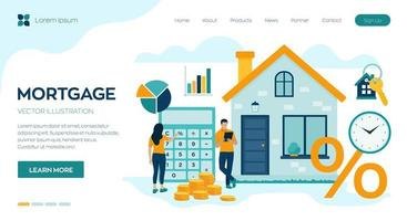 Mortgage concept. House loan or money investment to real estate. vector