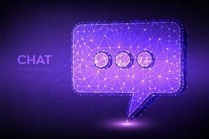 icono de chat. signo de chat abstracto de baja poli. símbolo de mensaje de burbuja de discurso. vector