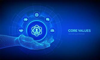 Core Values icon in robotic hand. vector