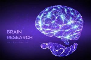 Brain. Low poly abstract digital human brain in hand. Neural network. vector